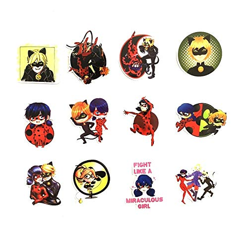50Pcs Cartoon Miraculous Ladybug Stickers Waterproof Laptop Motorcycle Luggage Snowboard Fridge Phone Car Sticker