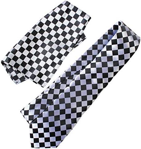 ネクタイ 4点セット ポケットチーフ カフスボタン タイピン 市松格子 シルバー