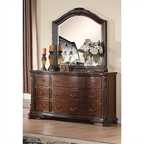- Coaster Maddison Dresser and Mirror Set in Warm Brown Cherry Finish