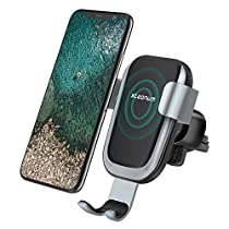Wireless Car Charger, Steanum QI Gravity Car Mount Air Vent Phone Holder, Fast Charging Compatible withSamsung Galaxy S9 S8 S7/S7 Edge, Note 5, Standard Charge for iPhone XS/XS MAX/XR/X , 8/8 Plus and Qi Enabled Devices
