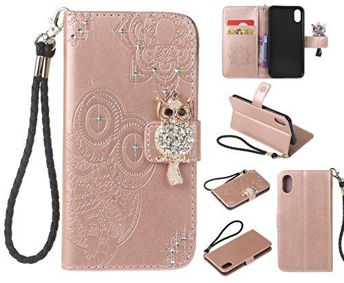 Support Cuir Housse Papillon Cover iPhone Coque de Elegante BONROY 10 Protection Flip iPhone Miroir Carte Etui X 10 Housse Case iPhone Fonction Antichoc Fleur en Porte Magn Cuir X 51ZZBvpq