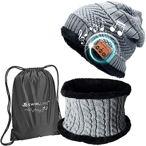 Wireless Beanie - Wireless Headphones Hat and Scarf Set for Winter Outdoor Men Women Warm Knitted Music Hat