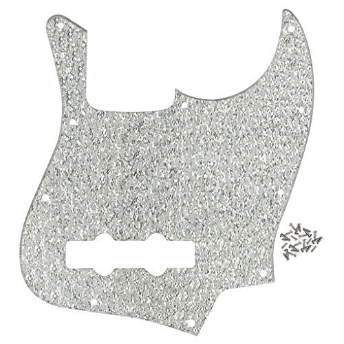 FLEOR 10 Hole Jazz Bass Pickguard Scratch Plate w/Screws for 4 Strings American/Mexican Standard Jazz Bass Part, 1Ply Sparkle Silver Color