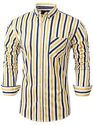 Emiqude Men's 100% Cotton Casual Long Sleeve Pocket Slim Fit Button Down Dress Shirt