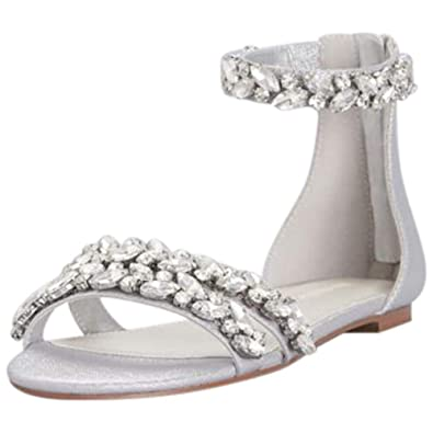 196851e87 Amazon.com | David's Bridal Jeweled Metallic Ankle Strap Flat Sandals Style  Alessia | Shoes