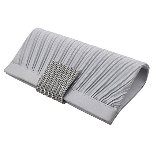 Wocharm Rhinestones Women Party Purses Satin Bag Evening Clutch Pleated Silver Handbags wpp1Eq