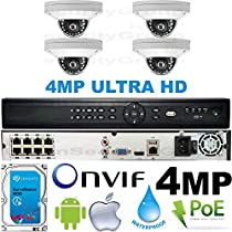 USG Business Grade 4MP 2592x1520 4 Camera HD Security System : 16 Channel 6MP Security NVR + 4x 2.8mm Wide Angle Dome Cameras + 1x 2TB HDD : Apple Android Phone App