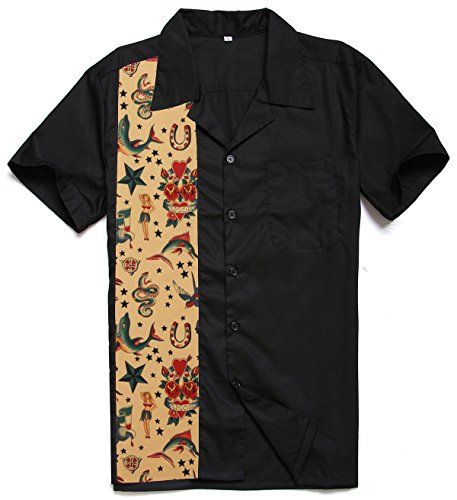 Anchor MSJ Mens 50s Male Clothing Rockabilly Style Casual Cotton Blouse Mens Fifties Bowling Dress Shirts (XL)