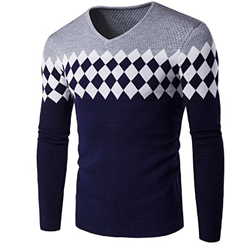 Sonms Stylish Diamond Lattice Knitted Men Long Sleeve V-Neck Sweater Pullover Gray ()