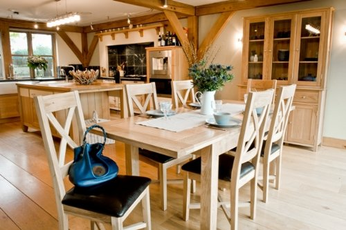 Somerset Eiche Tisch Möbel, Esszimmerstuhl, Ledersitz, 1 Paar