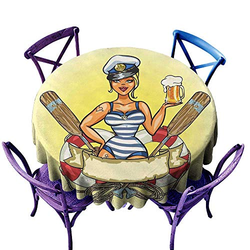 Warm Family Girls Wrinkle Resistant tableclothPin Up Sexy Sailor Girl Lifebuoy with Captain Hat and Costume Glass of Beer Feminine for Kitchen Dinning Tabletop Decoration -