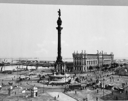 early 1900s photo Spain. Plaza & Peace Harbor of Barcelona Vintage Black & Wh c5 by Historic Photos