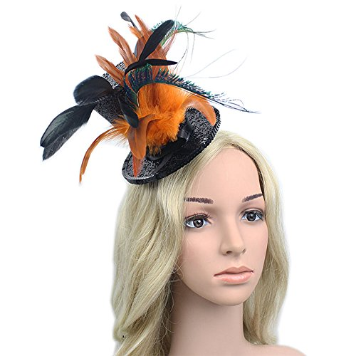 YSJOY Kentucky Derby Races Mini Top Hat Feather Fascinator Tea Party Cosplay Alice Hat Victorian Decorative Top Hat Hair Clip For Women Lady Costume Accessory Orange