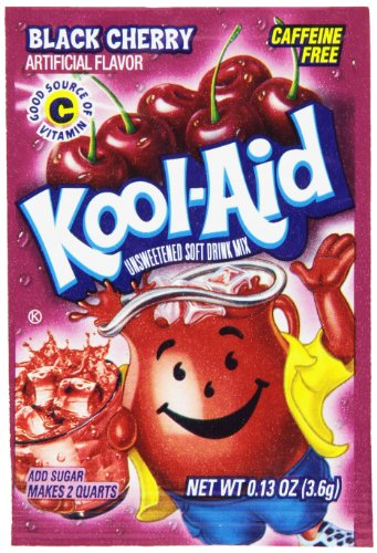 Kool-Aid Black Cherry Unsweetened Soft Drink Mix, 0.13-Ounce Envelopes (Pack of 48)