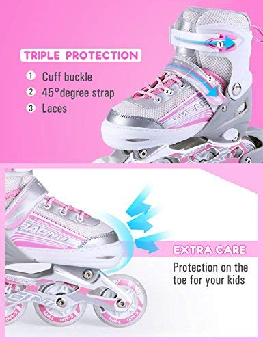 Kuxuan Saya Inline Skates Adjustable for Kids,Girls Rollerblades with All Wheels Light up,Fun Illuminating for Girls and Ladies - Small by Kuxuan (Image #2)
