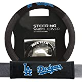 LOS ANGELES DODGERS MLB STEERING WHEEL COVER AND SEATBELT PAD AUTO DELUXE KIT...