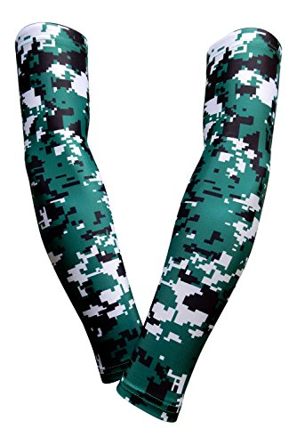PAIR - Sports Farm - Compression Elbow Arm Sleeves (YOUTH MEDIUM, GREEN BLACK DIGI CAMO)