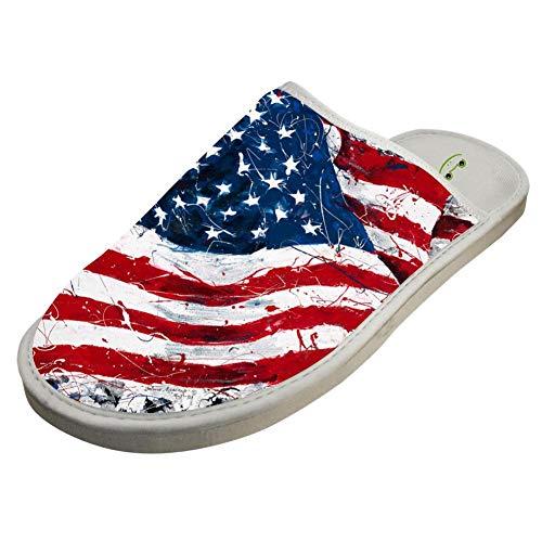 BVVST Bedroom Shoes Art America USA Flag Warm Indoor House Slippers For Women/Men