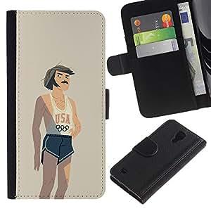 Be-Star la tarjeta de Crédito Slots PU Funda de cuero Monedero caso cubierta de piel Para Samsung Galaxy S4 IV I9500 ( Usa Sports Competition Retro Vintage )