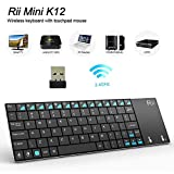 Rii K12 Ultra Slim Portable Mini Wireless KODI Keyboard with Large Size Touchpad Mouse Stainless Steel Cover and Rechargeable Li-Ion Battery, 2.4 GHz