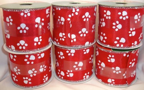 Paw Print Puppy Christmas Ribbon, Red and White, Wire Edged, Holiday Inspirations, 2.5 in X 12 Ft (Pack of 6 Rolls)