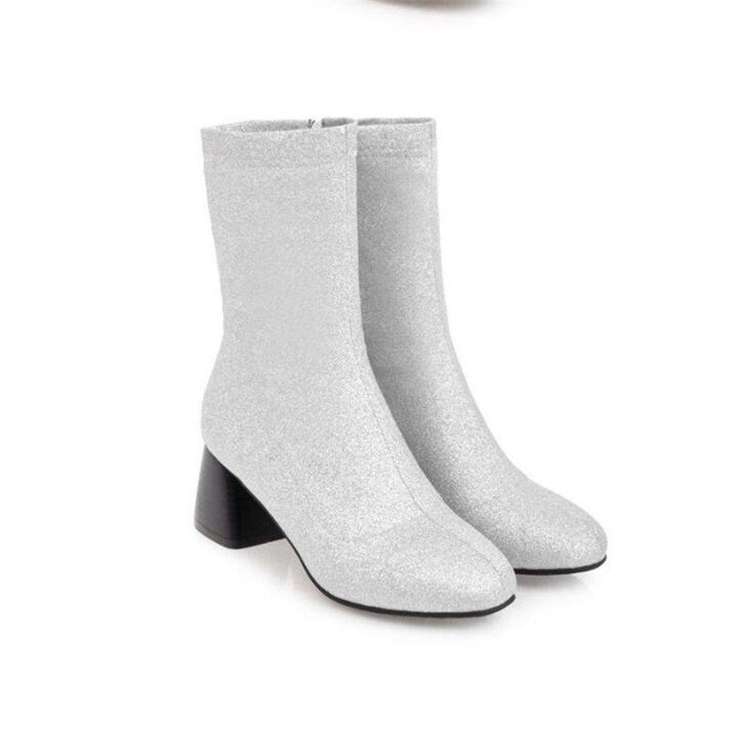 ZQ@QX Herbst und Winter Parteichef Parteichef Winter bold und elegant und vielseitig, kurze barrel Stiefel weibliche Stiefel Silver 88f315