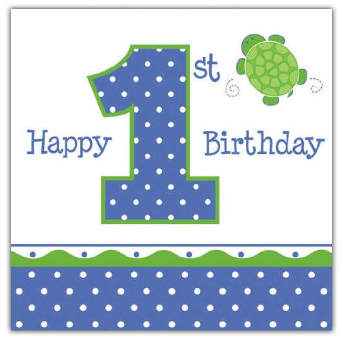16-Count Paper Lunch Napkins, Mr. Turtle Happy 1st Birthday