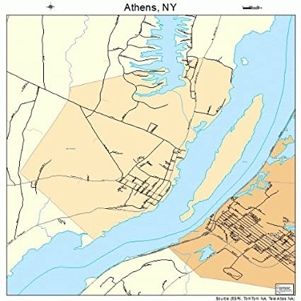 Map Of New York Towns.Amazon Com Large Street Road Map Of Athens New York Ny Printed