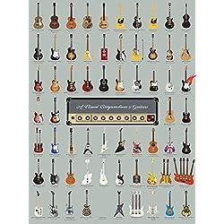 "Pop Chart Lab Vintage Guitar-A Visual Compendium of Guitars Poster Print, 18"" x 24"", Multicolored"