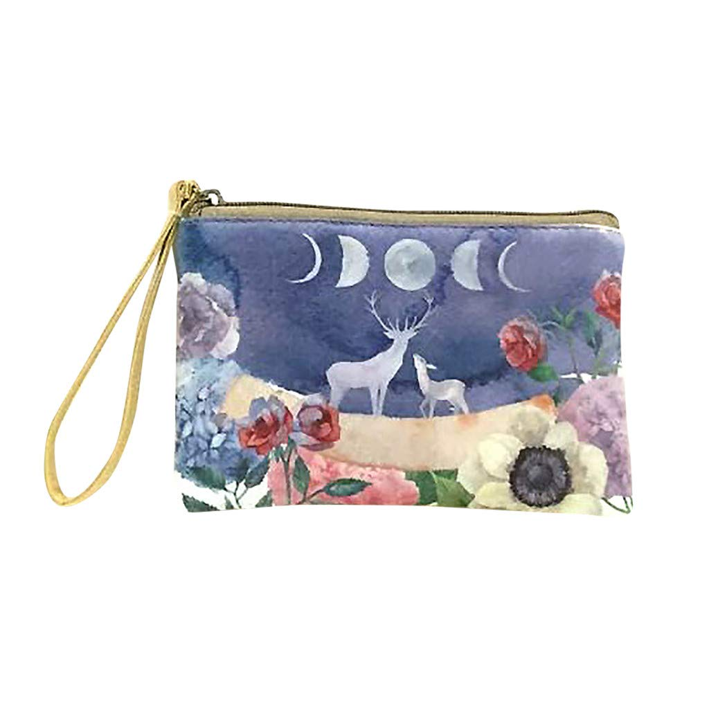 Cute Canvas Cash Coin Purse Makeup Bag for Purse Travel Cellphone Bag With Handle Wallet Bag