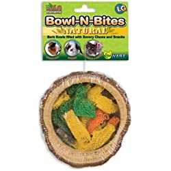 Ware Manufacturing Natural Wood Chewaliscious Bowl-N-Bites Small Pet Chew Treat, Large