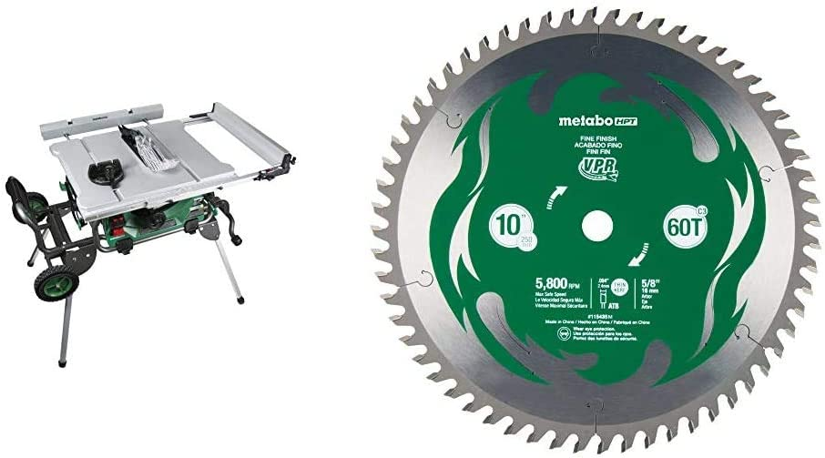 Metabo HPT Jobsite Table Saw with 10-Inch Fine Finish Miter Saw/Table Saw Blade