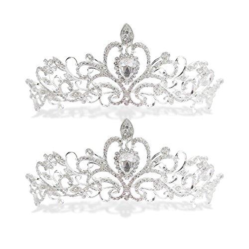 Party Princess 2-Pack Metal Rhinestone Tiara for Dress-up Bridal Bachelorette