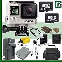 GoPro HERO4 BLACK 4K Action Camera + 16GB + 32GB Greens Camera Bundle 7