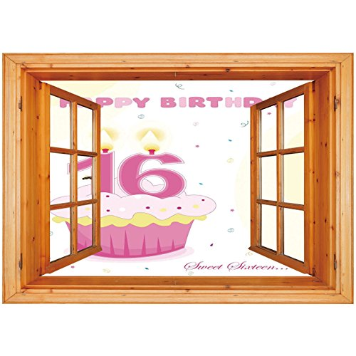 3D Depth Illusion Vinyl Wall Decal Sticker [ 16th Birthday Decorations,Cupcake Candle Teen Girls Style Sweet Surprise Illustration,Fuchsia Yellow ] Window Frame Style Home Decor Art Removable Wall Sti