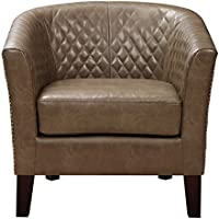 Pulaski Brown Faux Leather Upholstered Bucket Accent Chair with Nailhead