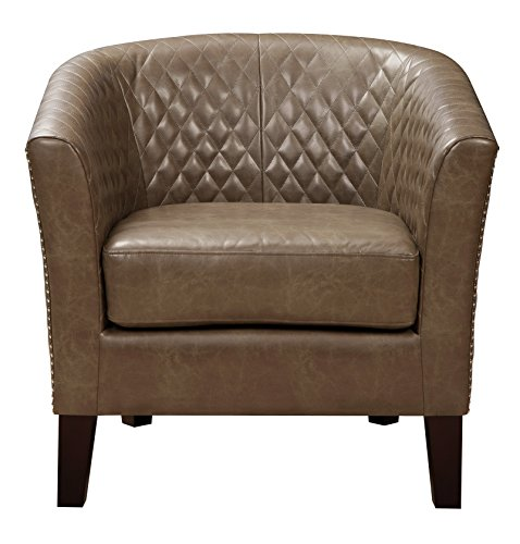 Faux Leather Accent Chair With Nailbead: Pulaski Brown Faux Leather Upholstered Bucket Accent Chair