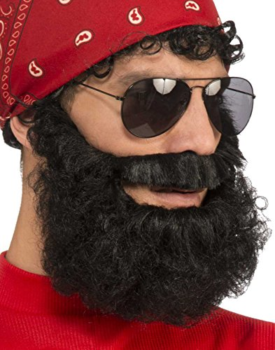 Forum Novelties Men's Beard-Brown Curly with Moustache Party Supplies, Standard 72518 -