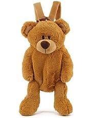 Cute Fuzz Plush Animal Teddy Bear/Panda/Dog/Kangaroo/Backpack Bags Toys for Toddles (Brown Bear)