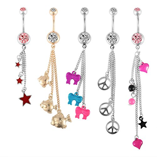 BodyJ4You 5 Pieces Belly Button Rings Set Long Dangle Navel Barbell Body Piercing Jewelry 14G (1.6mm)