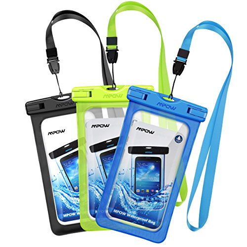 Mpow Waterproof Case, Universal Phone Dry Bag Pouch for iPhone Samsung HTC LG up to 6.0inch 3-Pack - Blu Studio 7 Phone Case