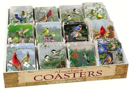 Counter Art CART91798 Bird Assortment with Counter Display 72 Coasters by CounterArt