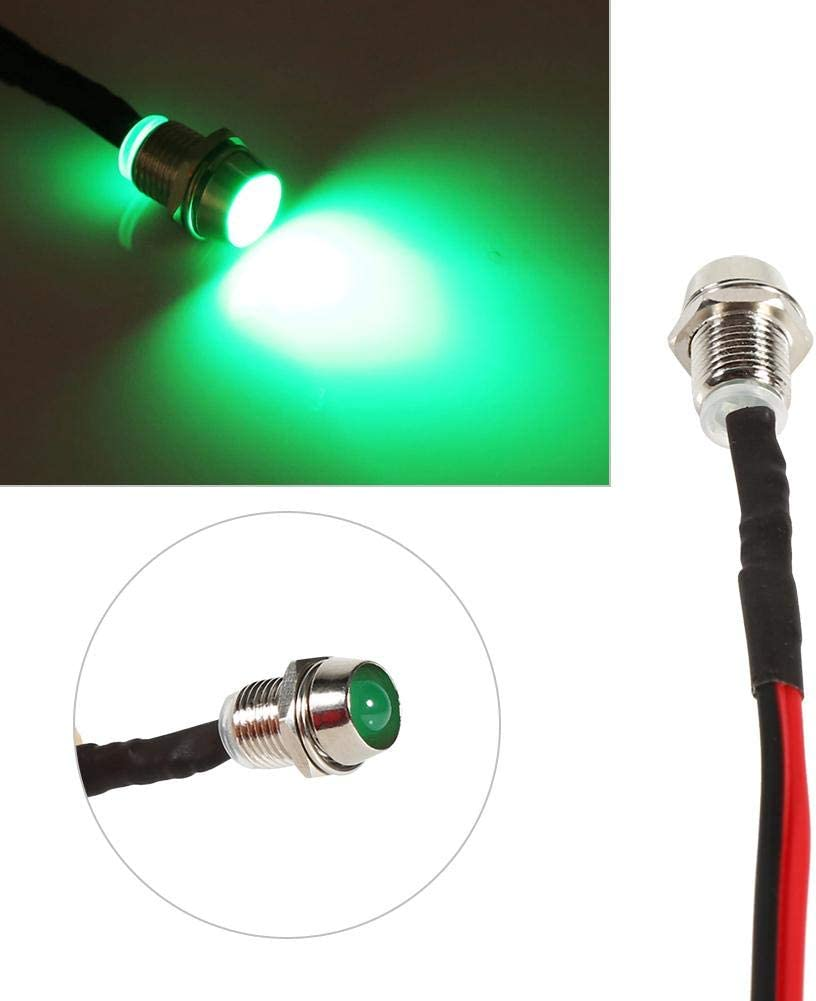 Amarillo 4 pzs Luz piloto LED de 8 mm 12V Luz indicadora de tablero universal Luces indicadoras de panel LED L/ámpara de bombillas LED de tablero para autom/óviles Van Trucks Barcos