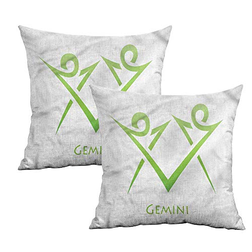 Khaki home Zodiac Gemini Square Pillowcase Covers Green Simplistic Square Custom Pillowcase Cushion Cases Pillowcases for Sofa Bedroom Car W 24