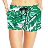 Women's Hot Summer Casual Beach Shorts - Green Fine Leaves