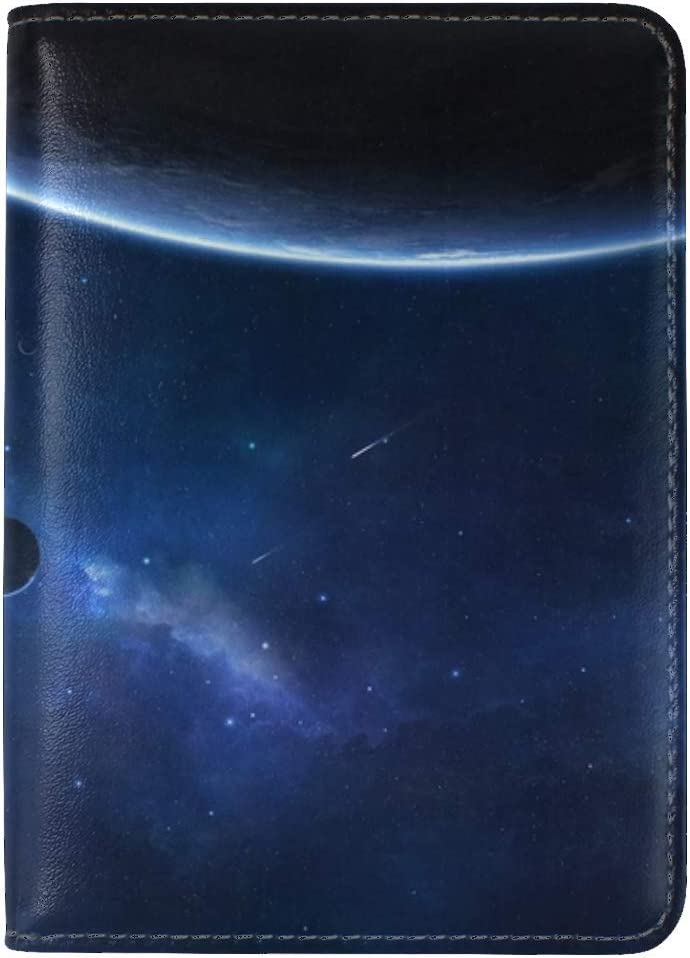 JiaoL Planet Space Stars Leather Passport Holder Cover Case Travel One Pocket