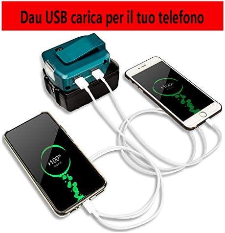 Adattatore adattatore per Makita BL1860 con 2 porte USB e il nuovissimo faretto LED Adattatore portatile di alta qualit/à a 14,4 V 18 V con batteria agli ioni di litio con uscita 12 V BL1430 BL1830