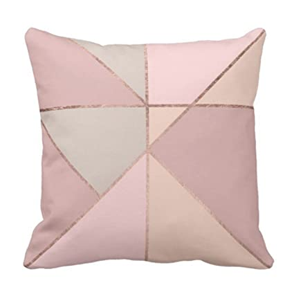 Amazoncom Emvency Throw Pillow Cover Pink Geometric Modern Rose
