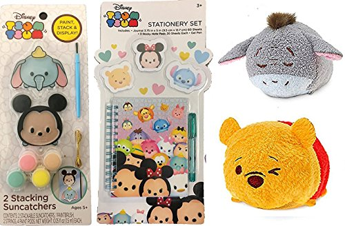 Disney Tsum Tsum Winnie the Pooh & Eeore Mini Plush + Stacking Suncatchers with Mickey Mouse & Dumbo Activity Stationary Set / Sticky Pad / Gel Pen & Journal Character Bundle