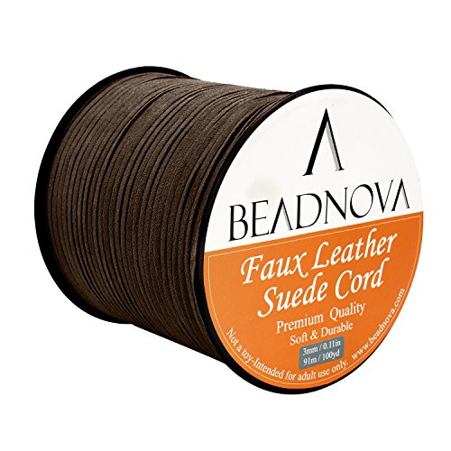 BEADNOVA 3mm Faux Suede Cord Flat Leather Cord 100 Yards Roll Spool (3 Mm Thread)